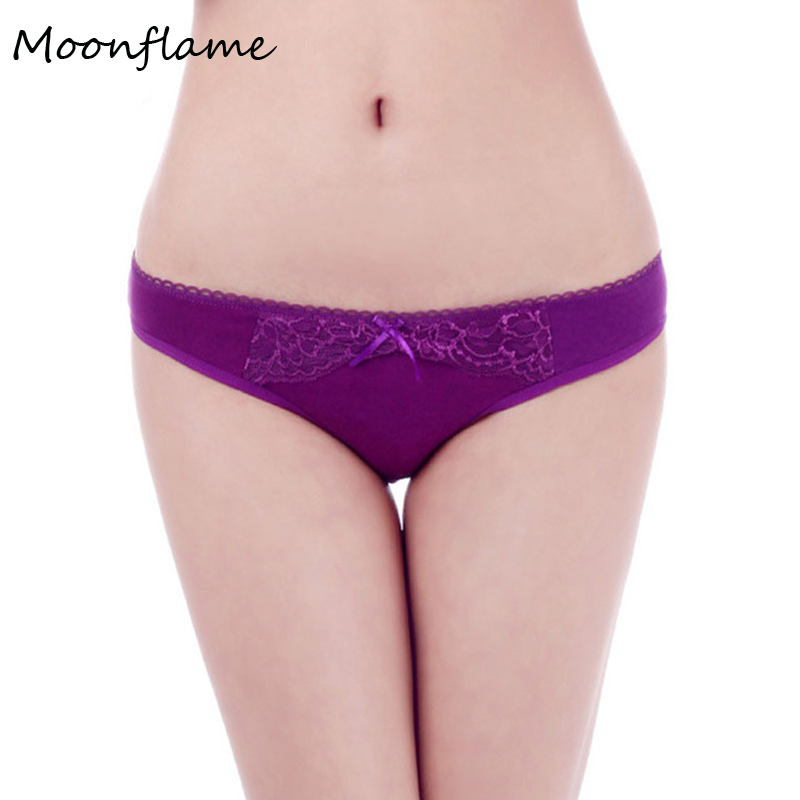 Moonflame New Arrival Lace Pants Underwear Women 2019 Sexy Solid Color Cotton Women's Lace   Panties   86926