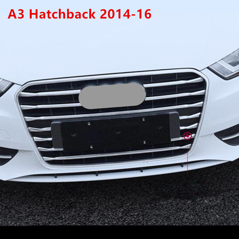 1-set-Stainless-steel-Car-Front-Grille-decorative-cover-trim-strips-for-Audi-A3-Sedan-Hatchback