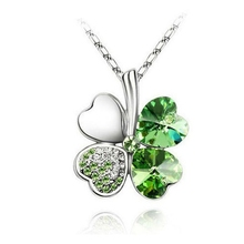Free Shipping Lucky Crystal Four Leaf Clover Heart Pendant Necklace irish shamrock charm chain