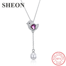 SHEON Authentic 925 Sterling Silver Cute Bird Hanging Pearl Pendants Necklace for Women Jewelry Valentine Gift