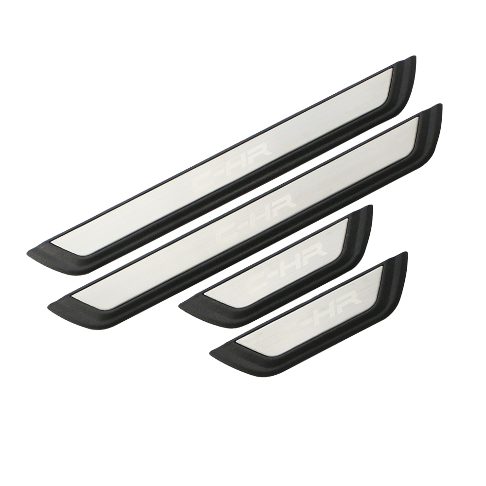 For Toyota C-HR 2017 2018 Steel Silver Logo Door Sills Scuff Plate Guard Pedals