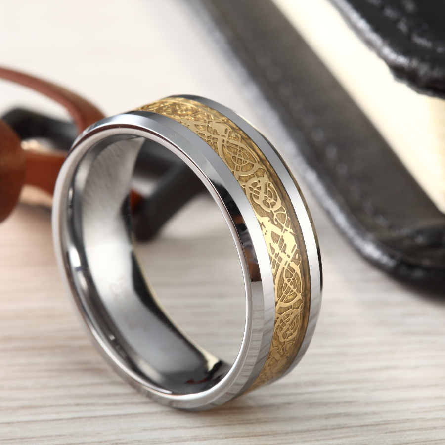 6mm & 8mm Heren Tungsten Carbide Ring Goud Keltische Dragon Inlay Polish Randen Verlovingsringen Bruiloft Band Mannen Sieraden Bague Homme
