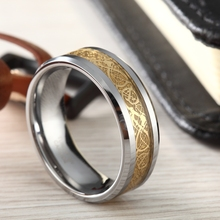 6mm 8mm Gold Celtic Dragon Inlay Tungsten Carbide Ring Men Polish Edges Engagement Rings For Women Wedding Band Fashion Jewelry