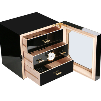 Drawer Storage Cabinet | Promotion Price! COHIBA Black High Glossy Cedar Wood Cigar Cabinet Humidor Storage Box W/ 3 Drawers Hygrometer Humidifier