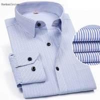 Ouekanlysian Slim Fit Long Sleeve Striped Shirt Men Spring Turn Down Casual Fitness Shirt Camisa Manga Curta Masculina