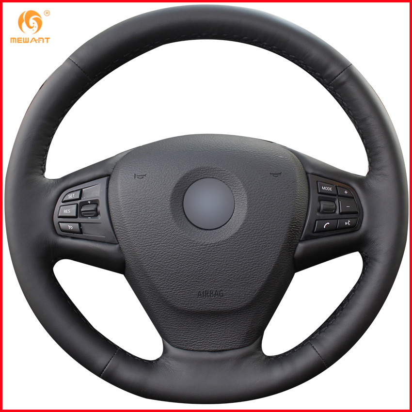 MEWANT Black Genuine Leather Car Steering Wheel Cover for BMW F25 X3 2011 2017 F15 X5