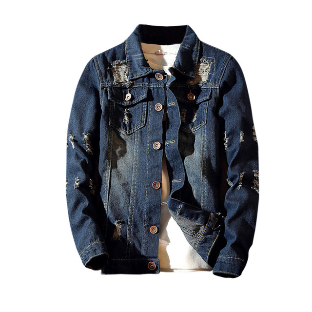 FeiTong Winter Jacket Men Streetwear Mens Clothing Casual Vintage Wash Distressed Denim Top Blouse Jacket Male Hip Hop