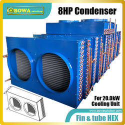 8HP fin & tube heat exchanger suitable for 68000BTU air conditioners or 20KW water chillers  and water temperature machines