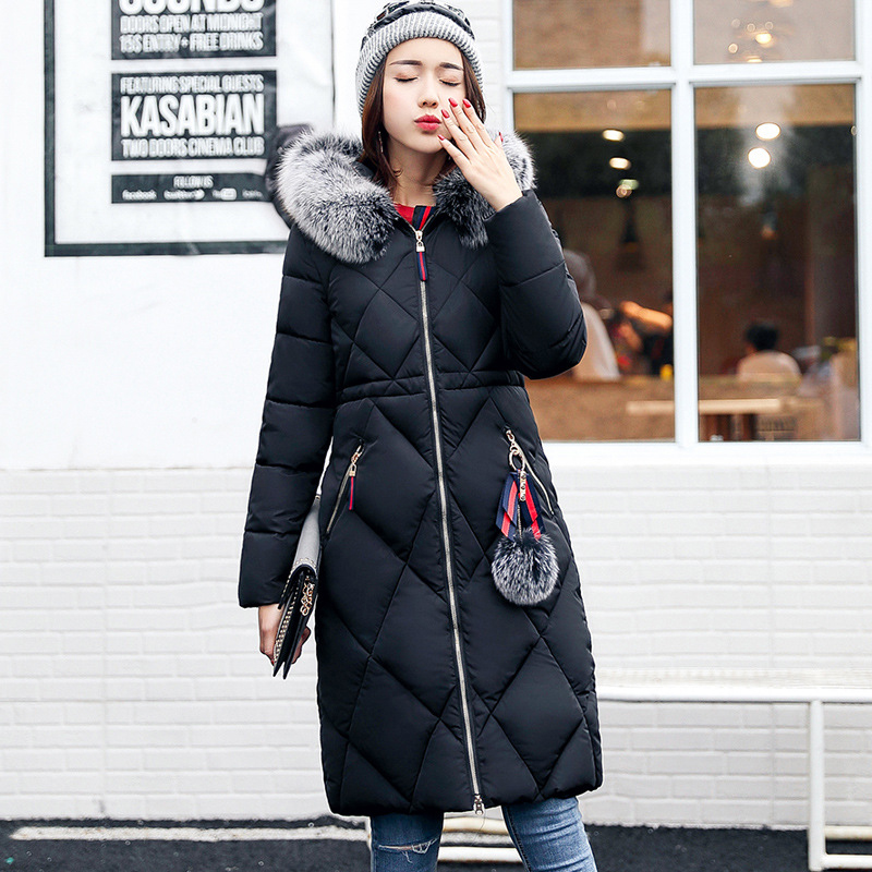 Dropshipping Big Fur Winter Coat Thickened Parka Women Stitching Slim Long Winter Coat Down Cotton Ladies Down Parka Jacket