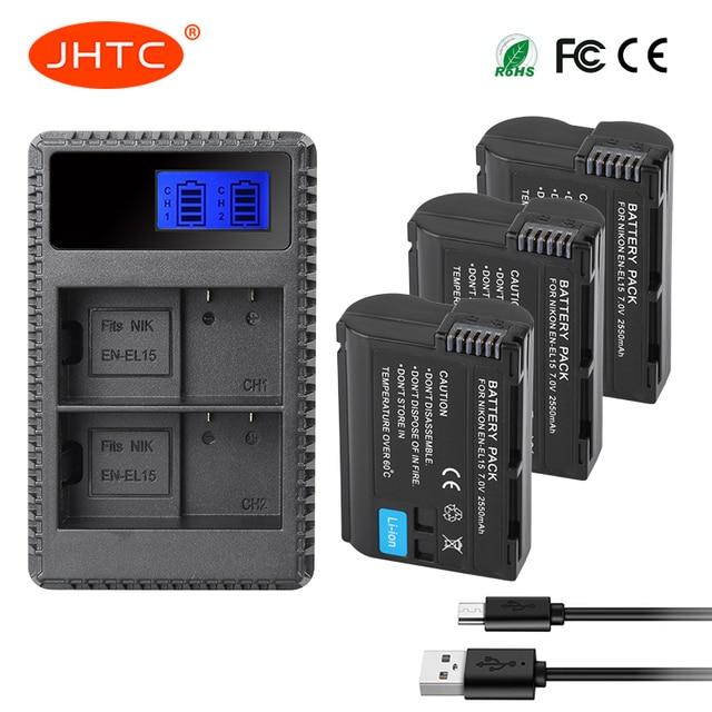 JHTC EN-EL15 es EL15 ENEL15 EL15A batería o LCD doble USB cargador para Nikon D850 D810 D800 D750 D7500 D7200 d7100 D610 D600
