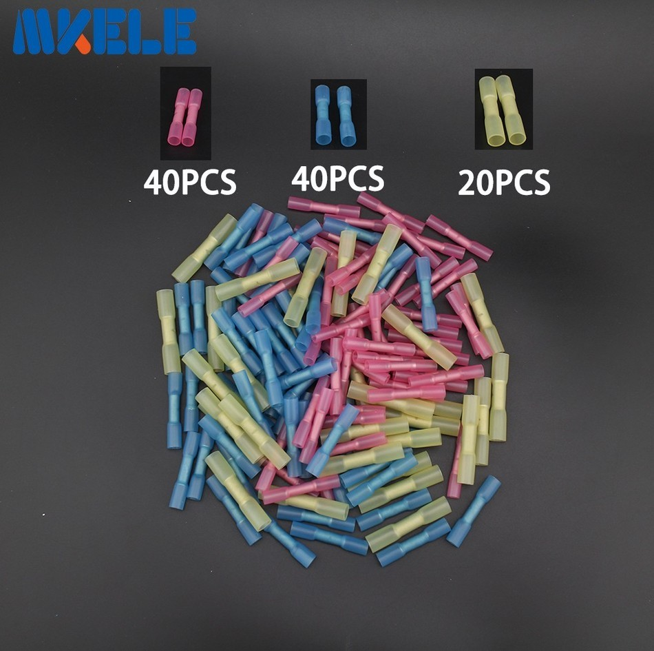 100pcs Insulated Heat Shrink Butt Connectors Wire Electrical Crimp Terminals 22-10 AWG Kit 500 pcs blue heat shrink 16 14 ga butt wire connectors ring terminal free shiping