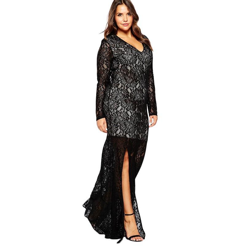 Autumn Winter Women V-neck Full Lace Vintage Big Plus Size 8XL Long Maxi Dress (1)
