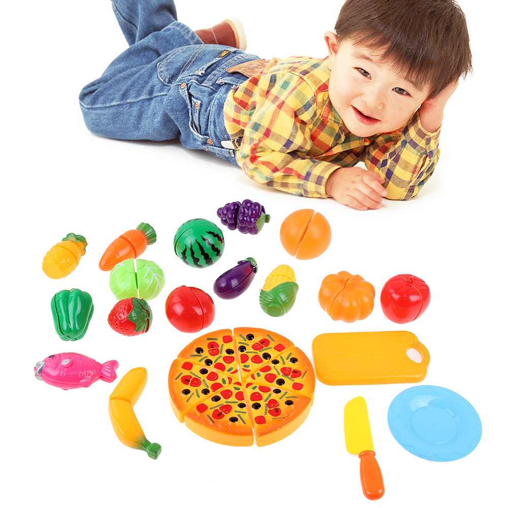 24Pcs Set Baby Cutting Food Game Toy Simulation Plastic Vegetables Fruit Fun Kids Kitchen Pretend Play