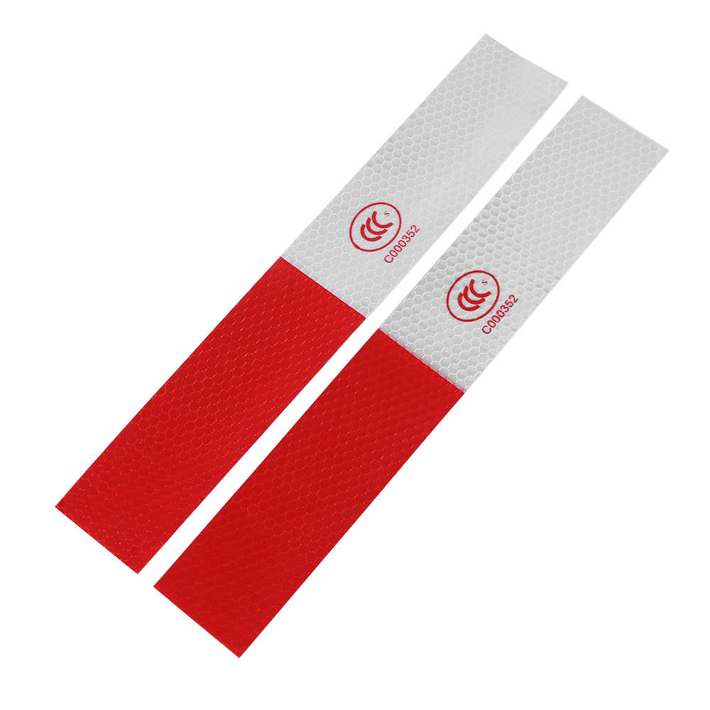 10Pcs DIY Red-White Truck Safety Warning Night Reflective Strip Tape DIY Stickers High Intensity Outdoor Security Accessories