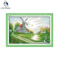 Joy Sunday Scenery Style Windmill Shed Cross Stitch Set Embroidery Kit Christmas Pattern Counted Cross Stitching