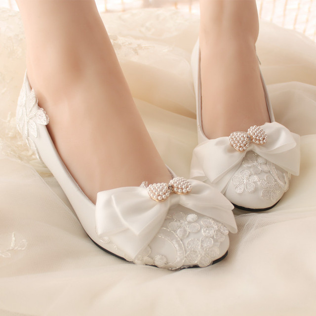 Handmade lace flower rhinestone pearl bow bridal bridesmaid shoes high heel white married women's shoes