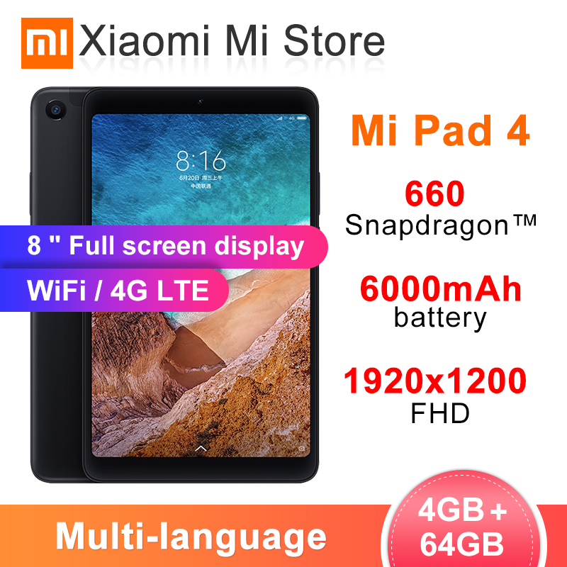 Multi-language Xiaomi Mi 4 Tablets 4 Snapdragon 660 AIE 8'' 16:10 Screen 13MP Rear