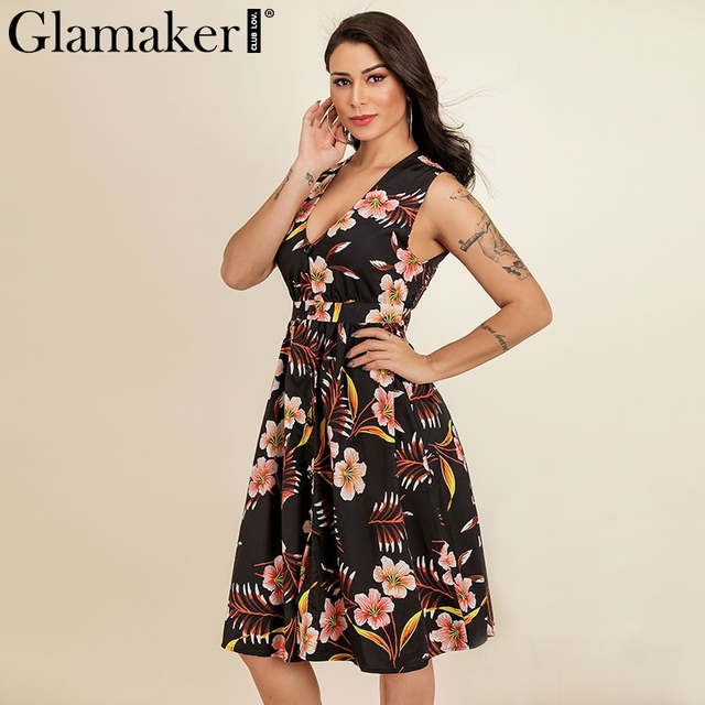 Glamaker boho Dress Glamaker Boho flower print short vintage dress V neck button summer style  shirt dress Sleeveless women dress vestidos de fiesta