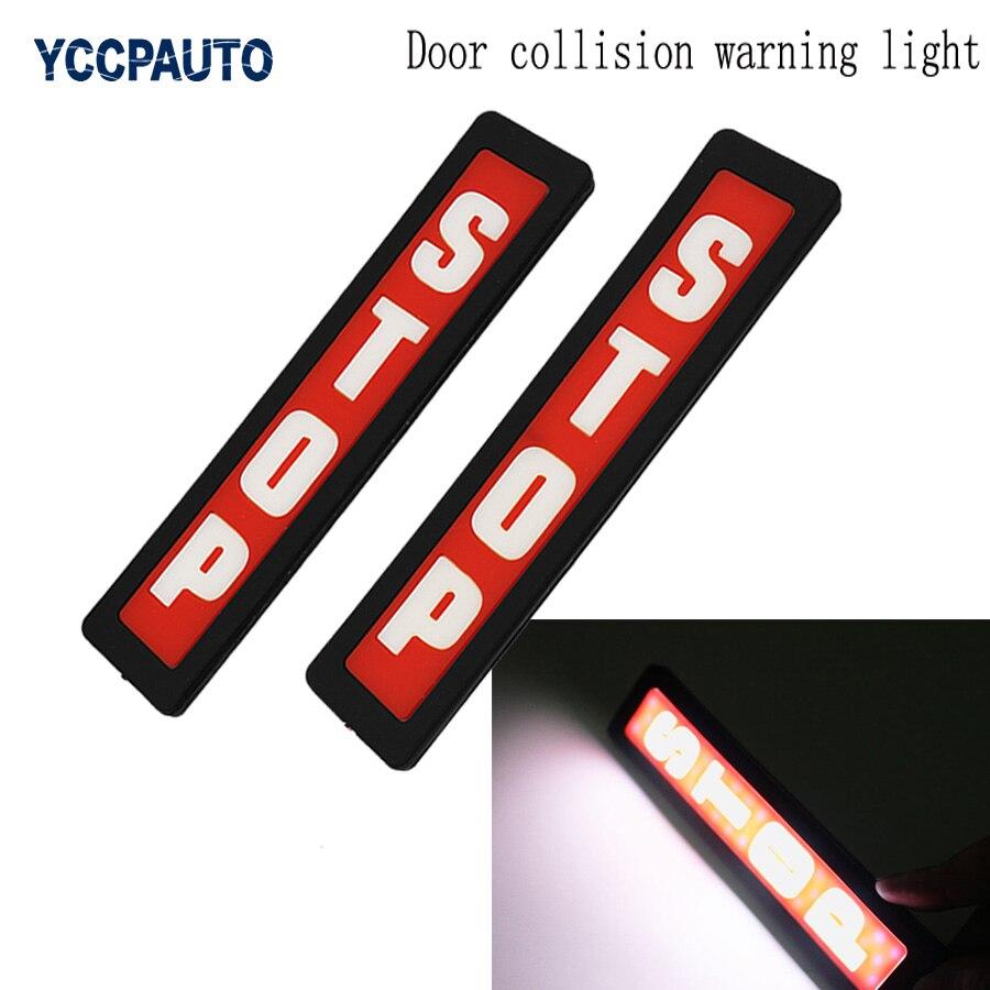 Car Auto LED Door Conllision Warning Strobe Lights Open Signal Warning Flash Light STOP LOGO Car Styling 2pcs/set Words Marks