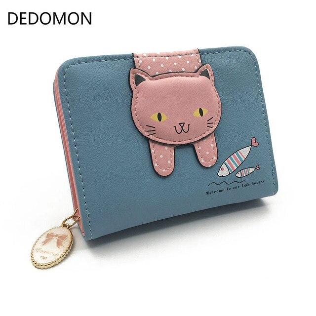 6860a1de27122 Kadın sevimli kedi cüzdan küçük fermuar kız cüzdan marka tasarım pu deri  kadın bozuk para cüzdanı