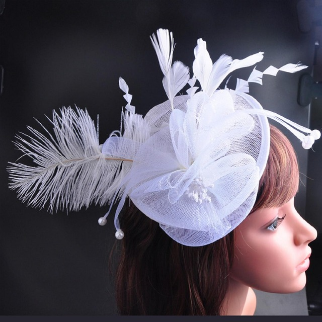 3c2f278a7 CHENLVXIE Vintage White Bridal Hats With Flower Handmade Fashion Wedding  Accessories Wedding Veil Hats Party Hat-in Bridal Headwear from Weddings &  ...