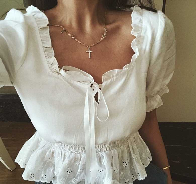 Summer Women Chest strap Square collar lace Crop Top Spliced Lace Hem with Puff Sleeve Blouse for Women shirts tops Blouse