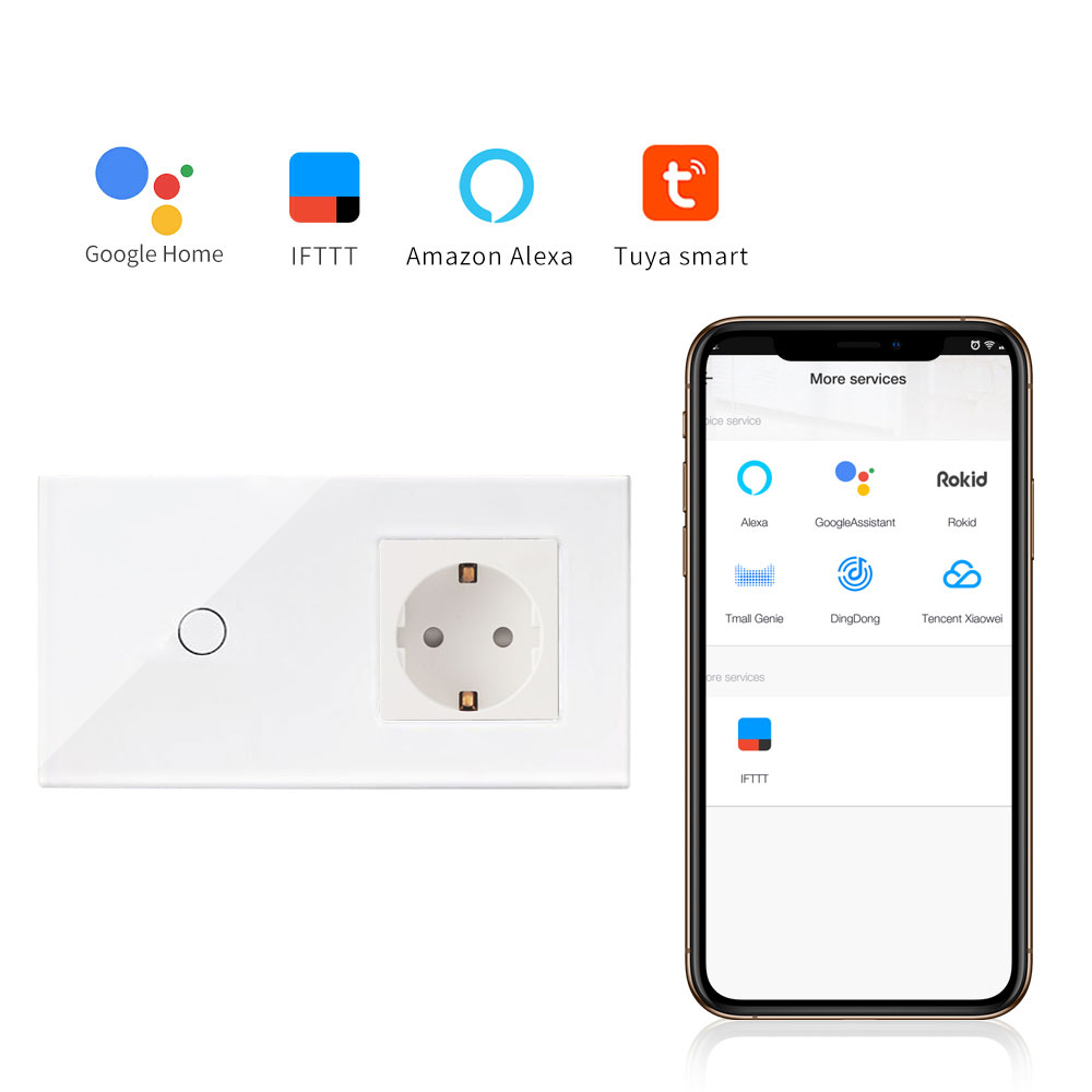 Bingoelec 1 <font><b>Gang</b></font> 1 Way <font><b>WIFI</b></font> Touch <font><b>Switch</b></font> With Germany Socket EU Standard Crystal Glass Panel Smart Home Automation Wall <font><b>Switch</b></font> image