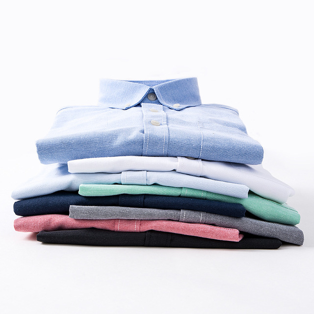 Brand Men Shirt Long Sleeve 2018 Spring New Solid White Casual Shirt Men Oxford Dress Shirt Youth Plus Size Male Shirt Clothing 3