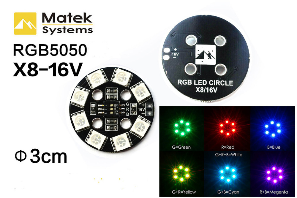 Matek RGB5050 7 Colors Switch X6-12V X8-16V 3S 4S Rounded LED Light Board for FPV 250 QAV250 RC Quadcopter Multicopter Cars 1pcs lightweight matek rgb led circle board 7 colors x8 16v for fpv rc multicopter