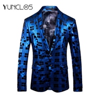 YUNCLOS 2019 Floral Print Men Suit Jacket Wedding Party Print Luxury Blazer Party Dress Stage Perform Use Slim Fit Casual Wear