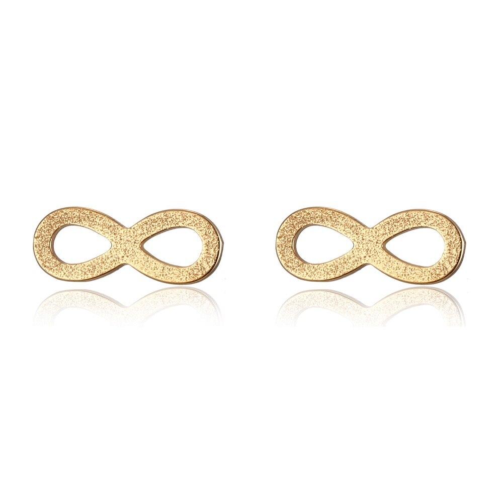 Fashion Women Gold earring Infinite Stainless Steel Stud Earrings Girl Romantic Couple Wedding Jewelry Gift