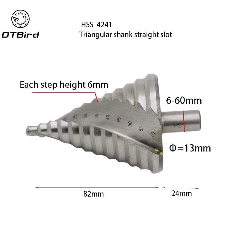 6-60mm Hss Step Cone Drill Bit Hole Cutter Set 12 Steps Metric Step Drill Wood Plastic Metal Drilling Shank Dia 13mm