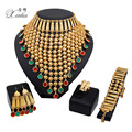 New Fashion African Costume Jewelry Sets Wedding Bridal Accessories party Charms Dubai  Gold Plated  Necklace Set