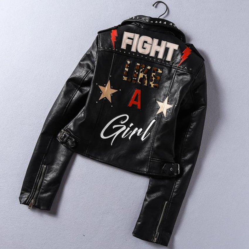 2019 New Fashion Spring Printed Letters Pu   Leather   Jacket Women Rivet Beading Locomotive Short Basic Streetwear Faux Jacket FY24