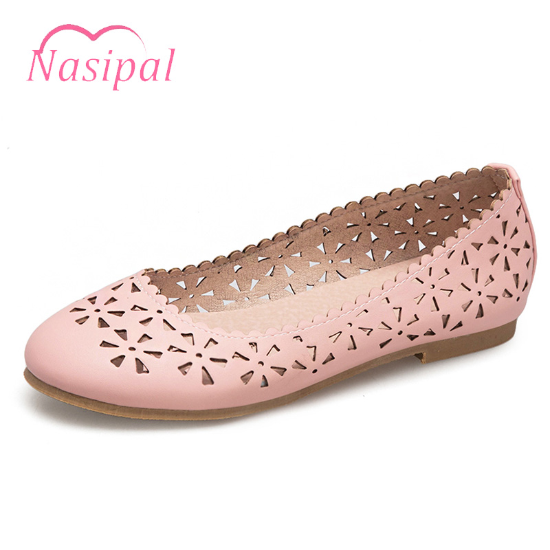 Nasipal Summer Hollow Breathable Flat Boat Shoes Women 2018 Fashion Handmade Weave Hole Shallow Plus Size Casual Women ShoesC600 women s shoes 2017 summer new fashion footwear women s air network flat shoes breathable comfortable casual shoes jdt103
