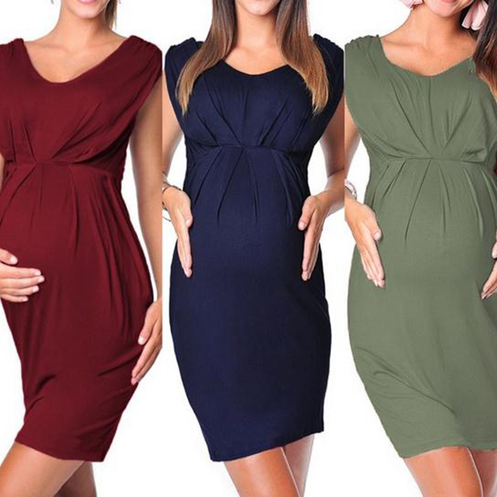 Hot Sale Maternity Dresses Pregnant Women Sleeveless Bodycon Sexy Solid Dress Props Ropa Premama Clothes For Pregnant Women 2019