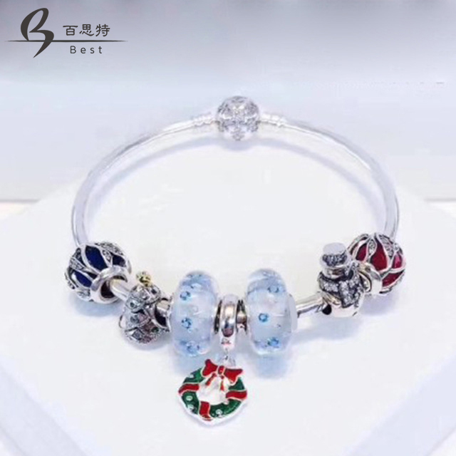 BEST 100% 925 Sterling Silver Winter Christmas Bracelet Set Snowman Christmas Glass Beads Women Charming JewelryBEST 100% 925 Sterling Silver Winter Christmas Bracelet Set Snowman Christmas Glass Beads Women Charming Jewelry