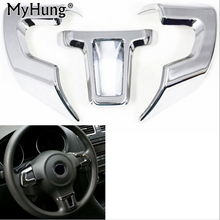 High quality ABS Chrome For Volkswagen Golf 6 POLO Bora Sagitar Steering wheel cover decoration Free Shipping!