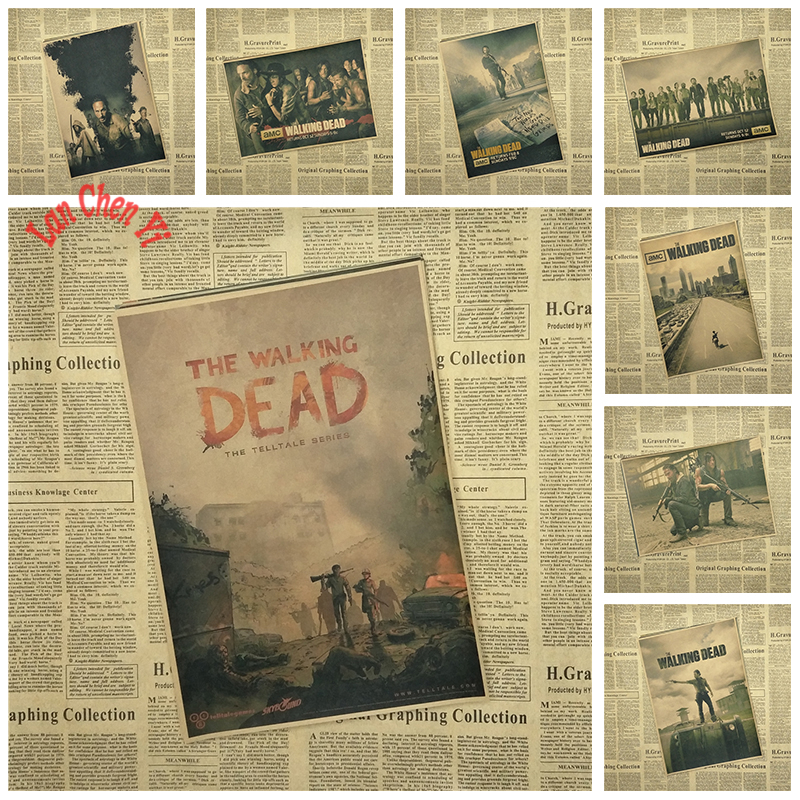 Oceněný televizní seriál The Walking Dead Classic Kraft Paper Poster Cafe Kreativní tapety Dekorace interiéru