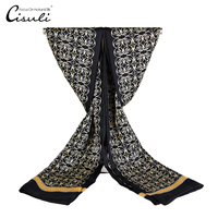CISULI 100%Silk Satin Long Scarf For Men 26X160cm New Desigual Classic Black Printed Pattern Business Men Wrap