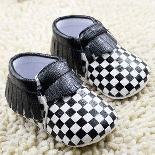 Fashion tassel with black white font b tartan b font plaid soft baby shoes high quality