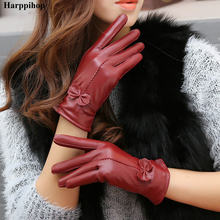 2019 women's genuine leather gloves red sheepskin gloves autumn and winter fashion female windproof gloves(China)