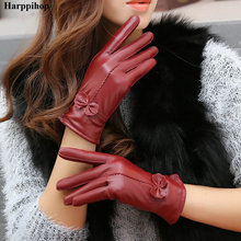 2020 women #8217 s genuine leather gloves red sheepskin gloves autumn and winter fashion female windproof gloves cheap HARPPIHOP Adult Polyester Microfiber Coral Fleece Solid Wrist Gloves Mittens hudiejieshout