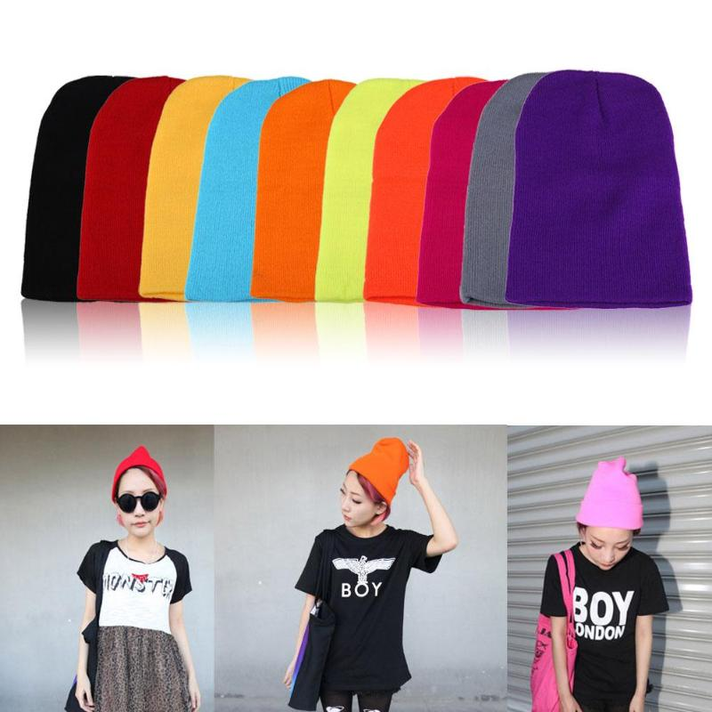 Men Women Winter Beanies Solid Candy Color Hats Female Warm Cuff Plain Knit Ski Long Beanie Skull Cap High Quality 19 Colors (China)