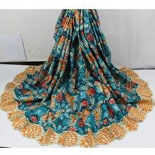 Elegante stickerei wachs tuch Afrikanische echt gedruckt wachs spitze stoff für abendkleid SLW51 (6 yards/lot)