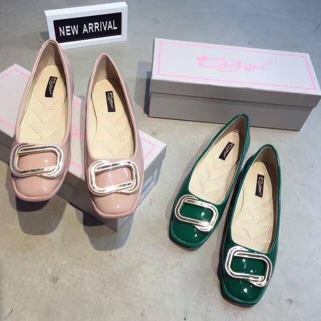 2016 Новые женские Туфли Бренд Моды Патент Lether Зеленый Розовый Дамы Плоские Туфли Ballerines Femme Chaussures