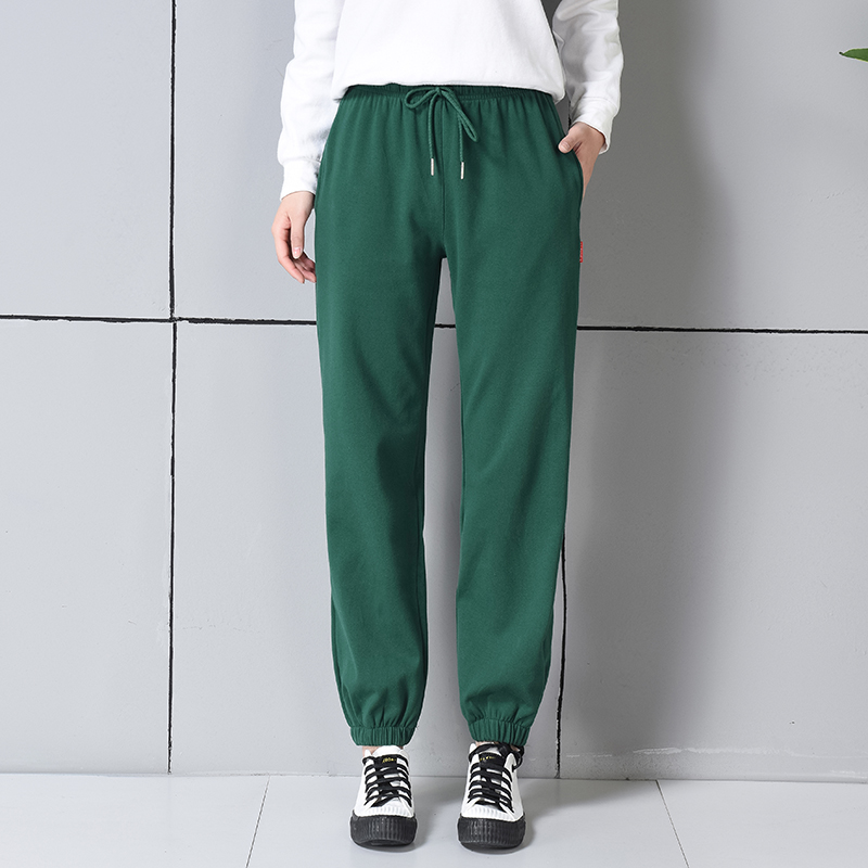 100 Cotton Harem Pants Womens Green Jogger Women Sweat Sweatpants