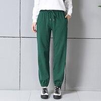 100% Cotton Harem Pants Womens Green Jogger Pants Women Sweat Sweatpants Streetwear 90s Fashion Track Pants Trousers Spring 2018