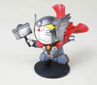 Hot Sale Japan Classic Anime Robot Doraemon Cosplay Super Hero Series Avenger Thor Cute 10CM Action