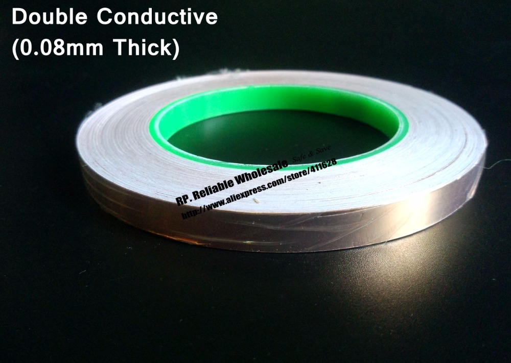 5mm*30M*0.08mm thick Single Sticky, Double Side Conductive Copper EMI Shielding Foil Tape fit for LCD Monitor, Laptop 5mm 30m 0 06mm thick double sided conductive copper foil tape emi masking electromagnetic shielding electrostatic discharge